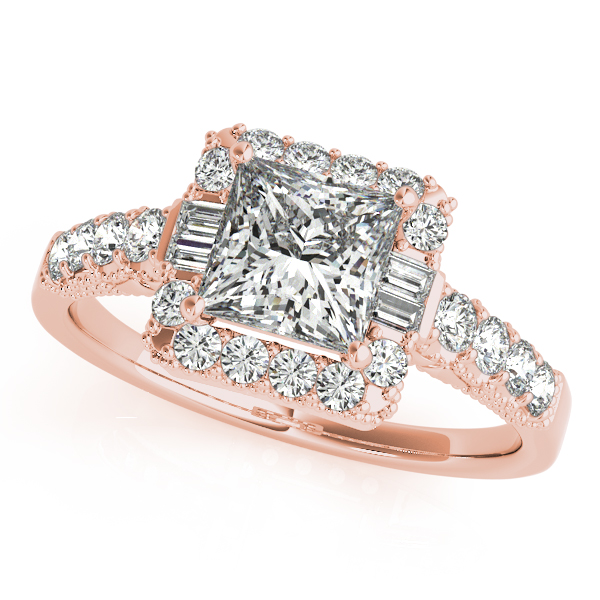 Princess Diamond and Baguette Halo Bridal Set in Rose Gold