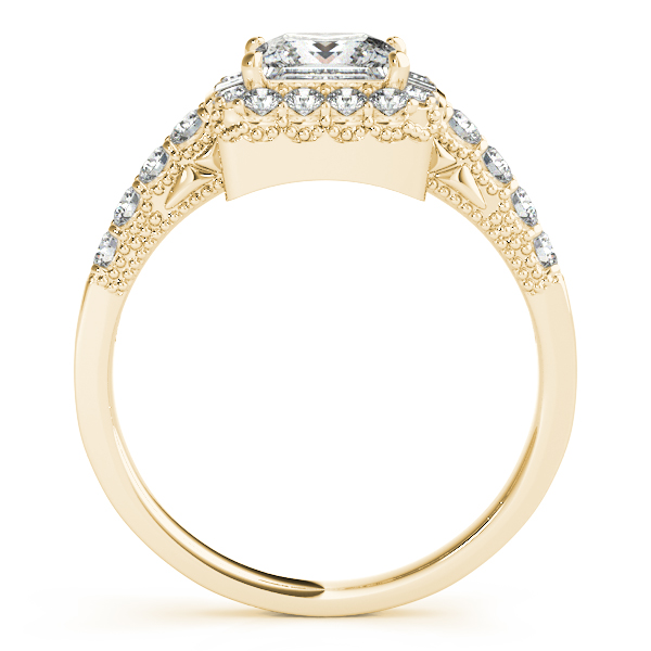 Princess Diamond Engagement Ring and Matching Band in Yellow Gold