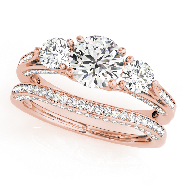 Engagement Ring  Three Stone Trellis Diamond Engagement Ring And Matching  Band In Rose Gold ES1562RGBS