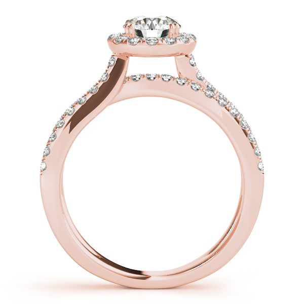 Intertwined Bridge Halo Diamond Bridal Set in Rose Gold