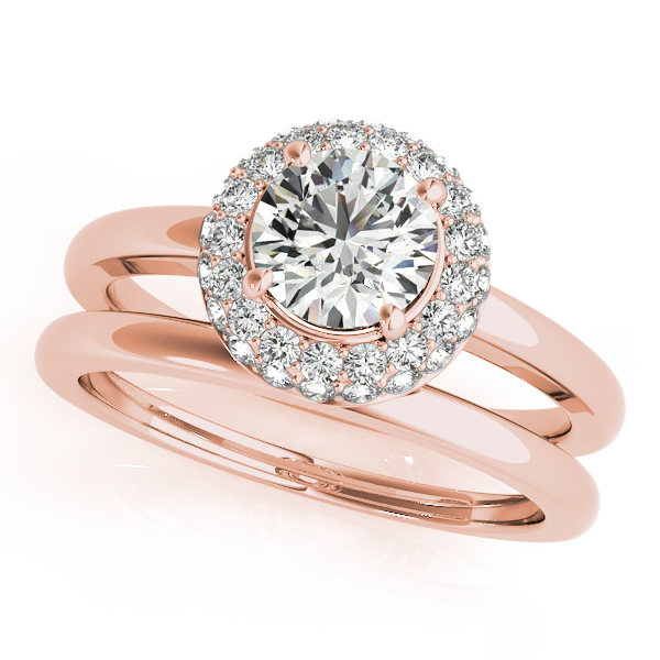 Double Halo Diamond Engagement Ring and Wedding Band in Rose Gold