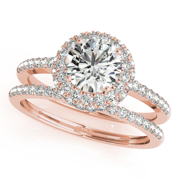 Double Halo Engagement Ring and Rose Gold Diamond Band