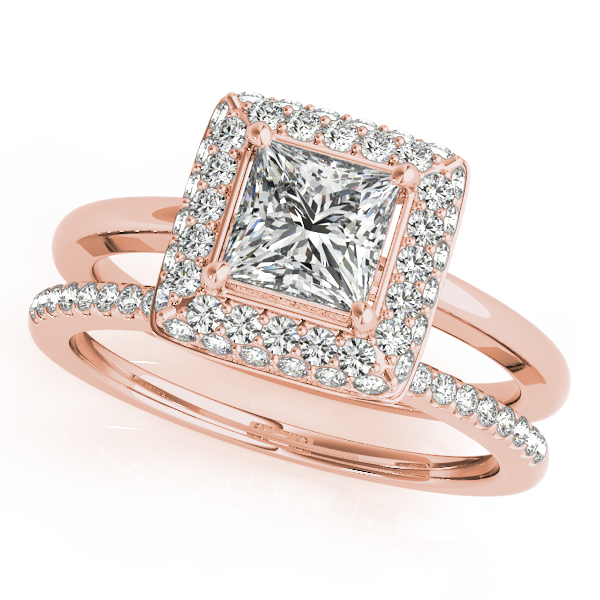 Double Halo Princess Diamond Bridal Set in Rose Gold