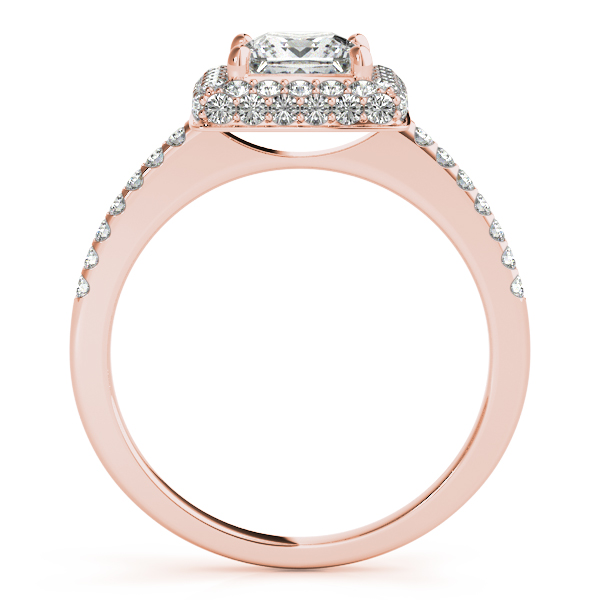 Double Halo Princess Engagement Ring and Matching Band in Rose Gold