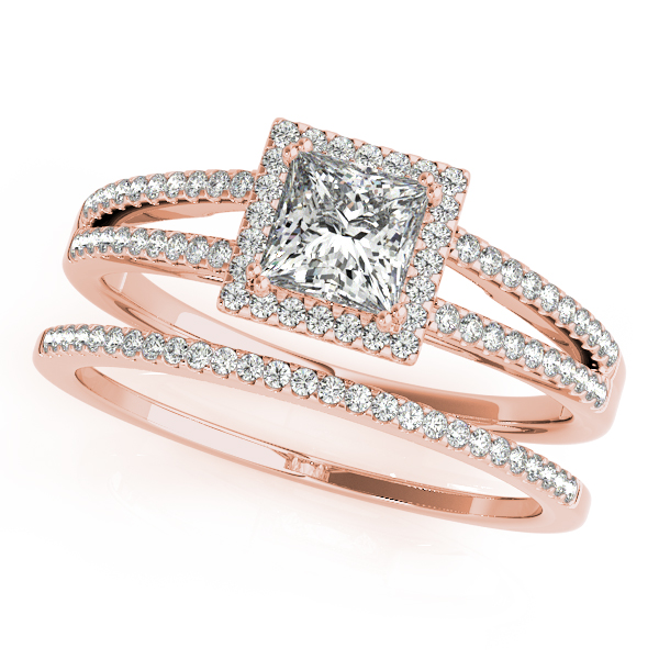 Petite Split Band Princess Halo Diamond Wedding Set in Rose Gold