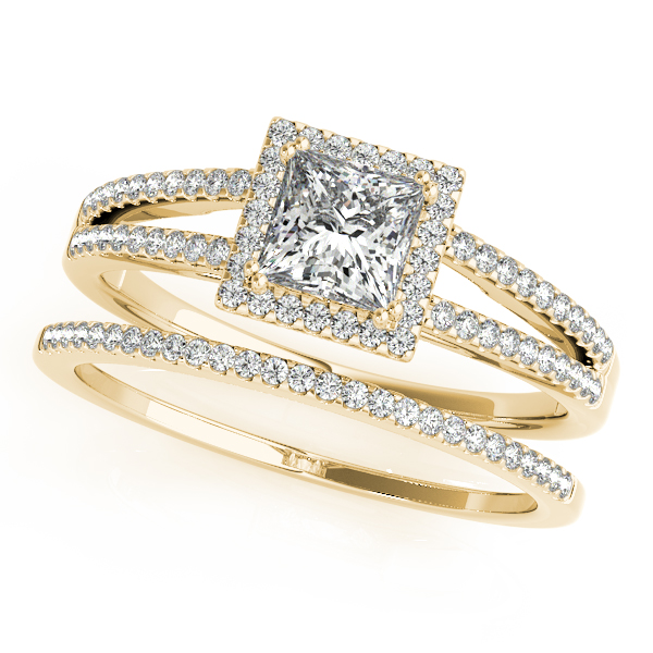 Petite Split Band Princess Halo Diamond Bridal Set in Yellow Gold
