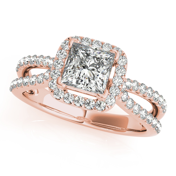 Petite Split Band Princess Halo Engagement Ring and Curved Band in Rose Gold