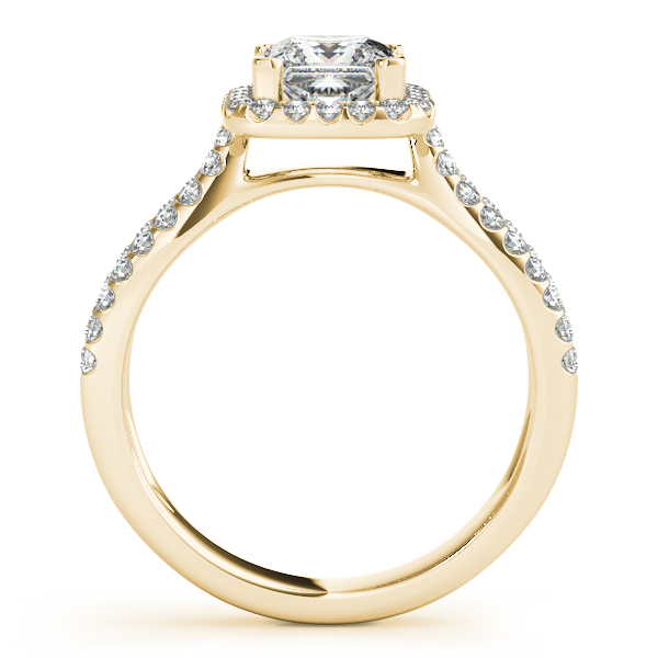 Petite Split Band Princess Halo Engagement Ring and Curved Band in Yellow Gold
