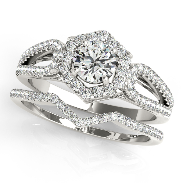 Hexagon Halo Split Band Bridal Set with Filigree