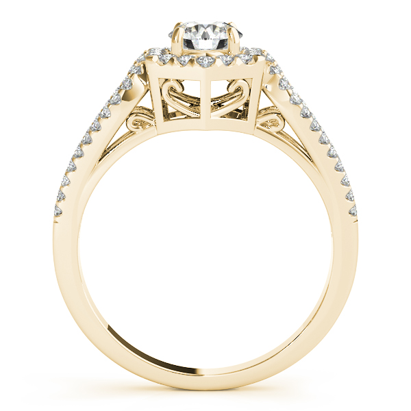 Hexagon Halo Split Band Bridal Set with Filigree Yellow Gold