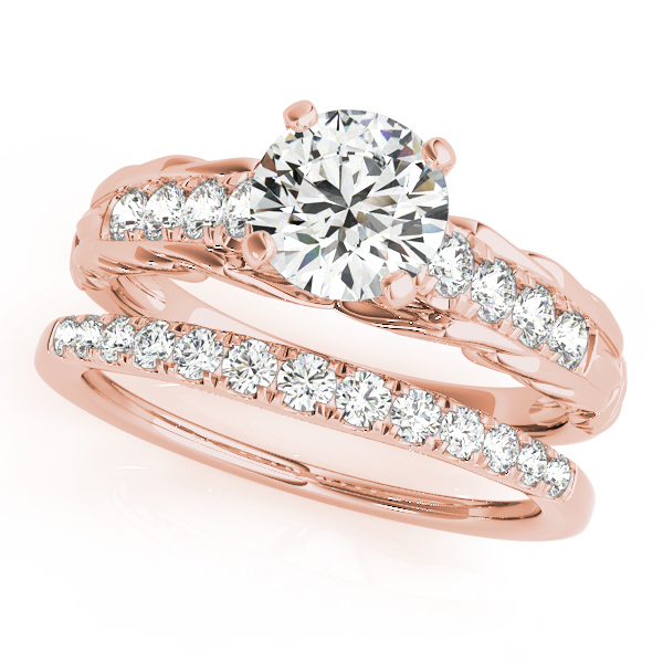 Vintage Style Engraved Diamond Bridal Set in Rose Gold