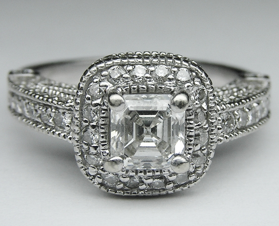 Asscher Diamond legacy style Engagement Ring 0.96 tcw.