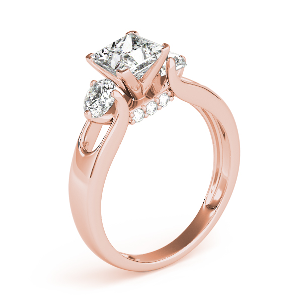 Princess Diamond Three Stone Engagement Ring in Rose Gold