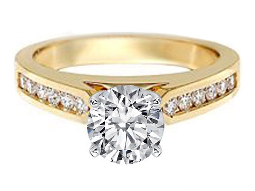 Tapered Cathedral Engagement Ring Diamond Band 0.48 in 14K Yellow Gold
