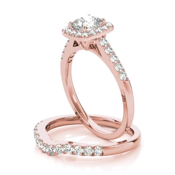 Engagement Ring Square Halo Diamond Cathedral Matching Wedding Band In Rose Gold ES1629RGBS
