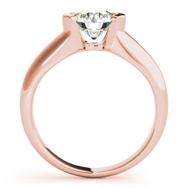 Semi-Bezel Set Solitaire Diamond Engagement Ring in Rose Gold