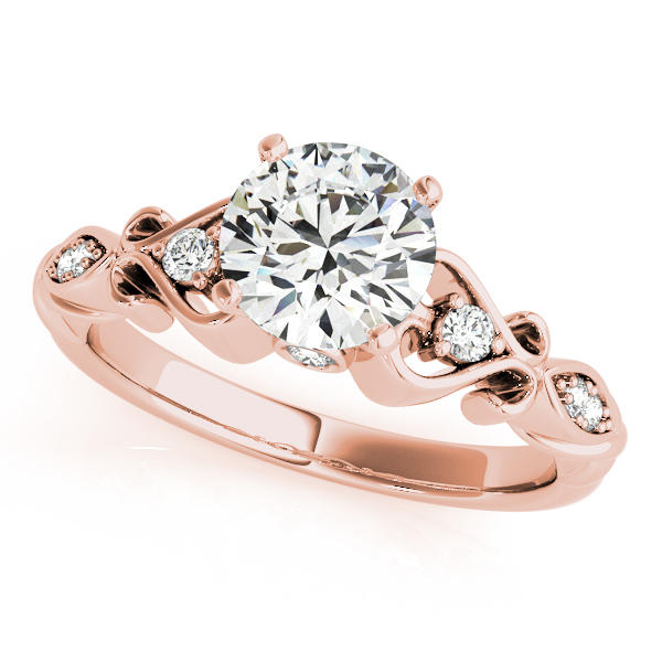 Antique Swing Heart Shape Filigree Diamond Bridal Set in Rose Gold