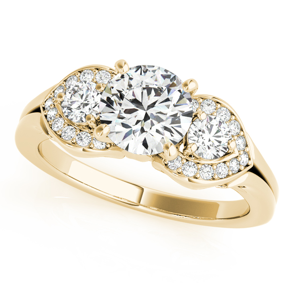 Three Stone Halo Diamond Engagement Ring in Yellow Gold
