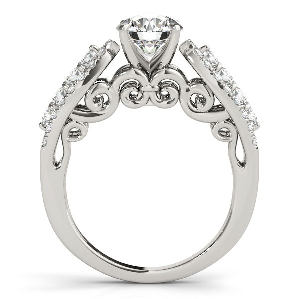 Three Row Diamond Horseshoe Engagement Ring with Filigree Design