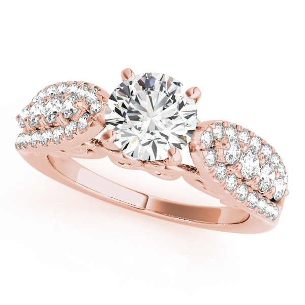 Three Row Diamond Bridal Set with Filigree Design in Rose Gold
