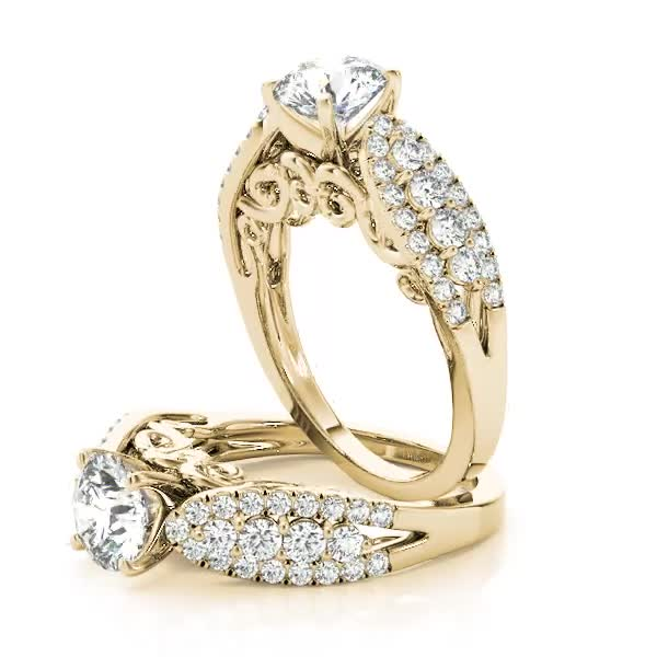 Three Row Diamond Engagement Ring with Filigree Design Yellow Gold