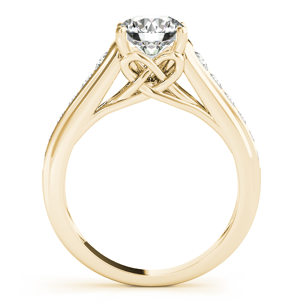 Graduated Cathedral Knot Diamond Engagement Ring Yellow Gold
