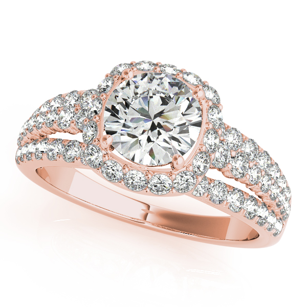 Halo Diamond Triple Row Split Band Bridal Set with Butterfly Filigree in Rose Gold