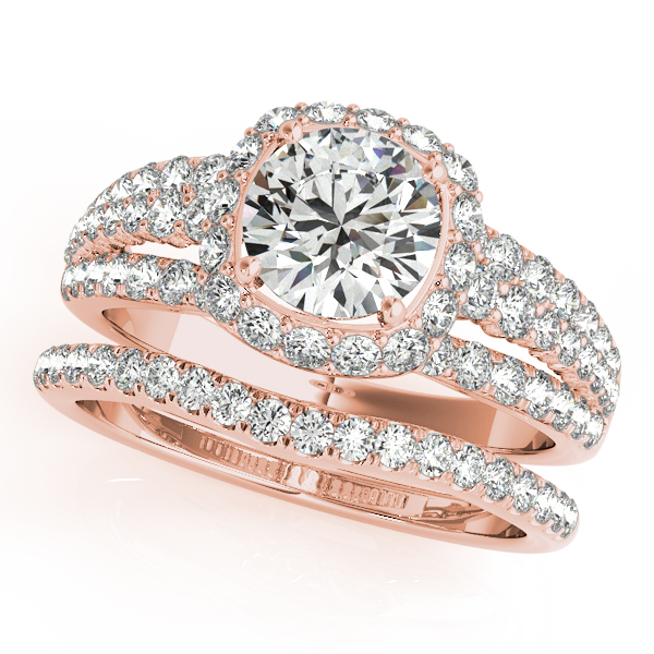 Engagement Ring Halo Diamond Triple Row Split Band Bridal Set with