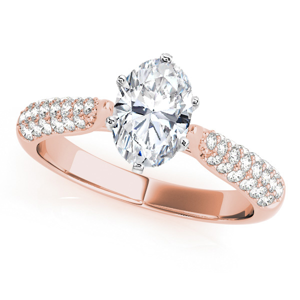 Etoil Diamond Engagement Ring Setting for All Shapes in Rose Gold