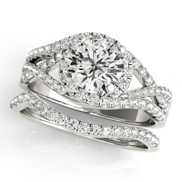 Intertwined Split Band Halo Engagement Ring and Matching Wedding Band
