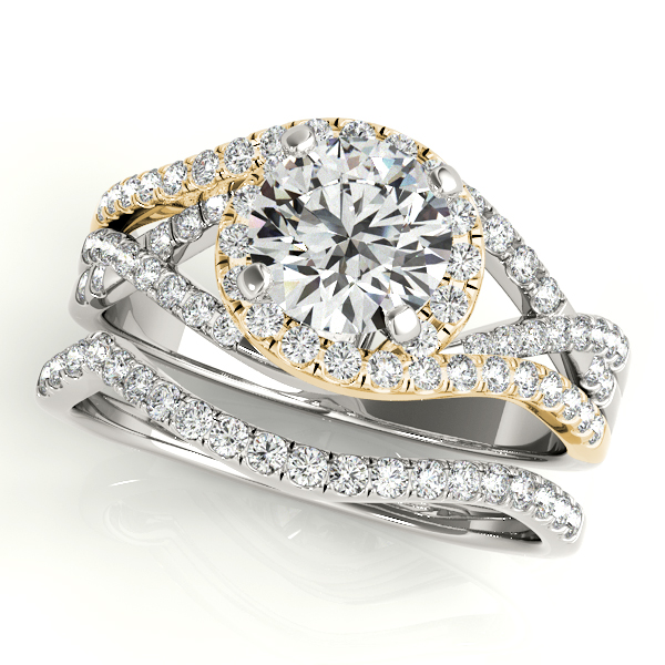 Intertwined Two Tone Split Band Halo Engagement Ring and Matching Wedding Band