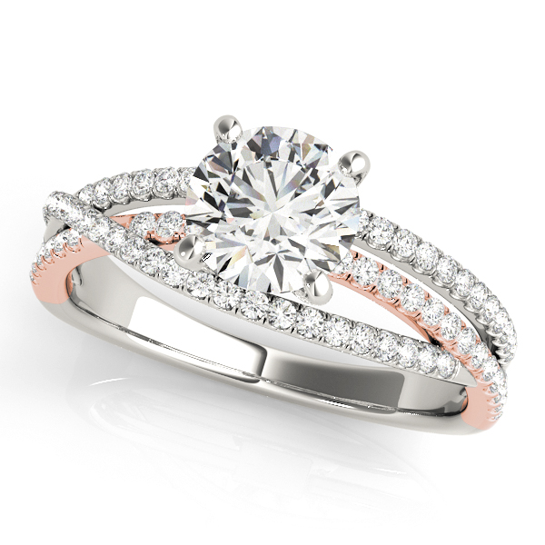 Two Tone Intertwined Diamond Split Band Engagement Ring