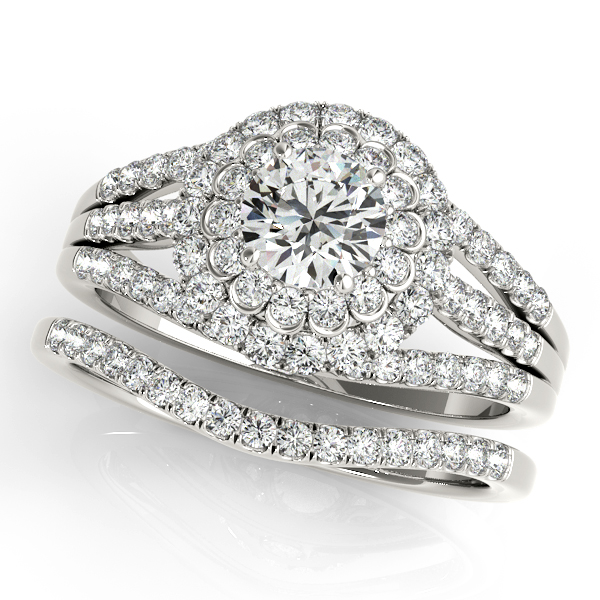 Filigree Three Row Double Halo Engagement Ring and Matching Wedding Band