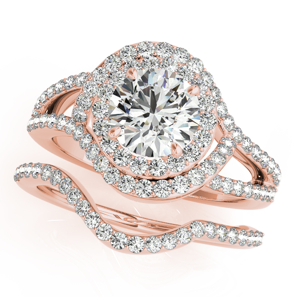 Swirl Intertwined Double Halo Diamond Split Band Bridal Set in Rose Gold