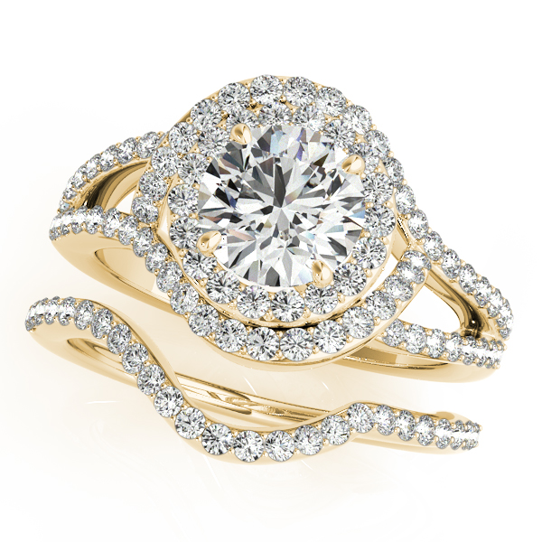 Swirl Intertwined Double Halo Diamond Split Band Bridal Set in Yellow Gold