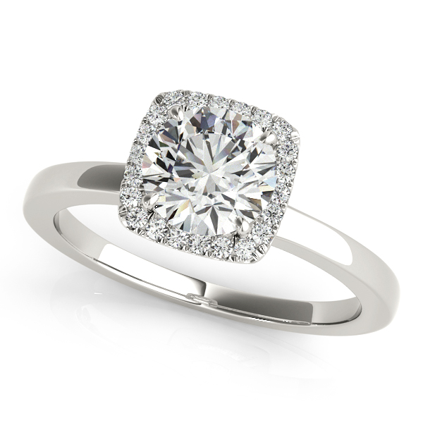 Engagement Ring Petite Square Halo Diamond Wedding Band ES1658SQBRPBBS