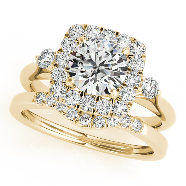 Engagement Ring Square Diamond Halo Three Stone Bridal Set with