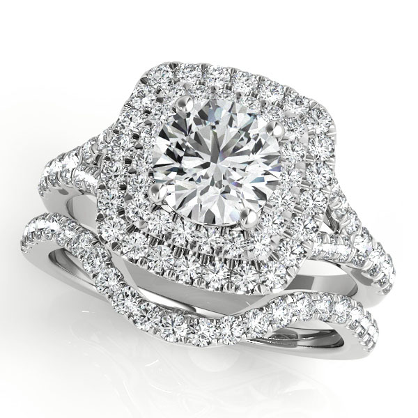 Double Halo Diamond Engagement Ring & Wedding Band with Split Band & Floral Filigree