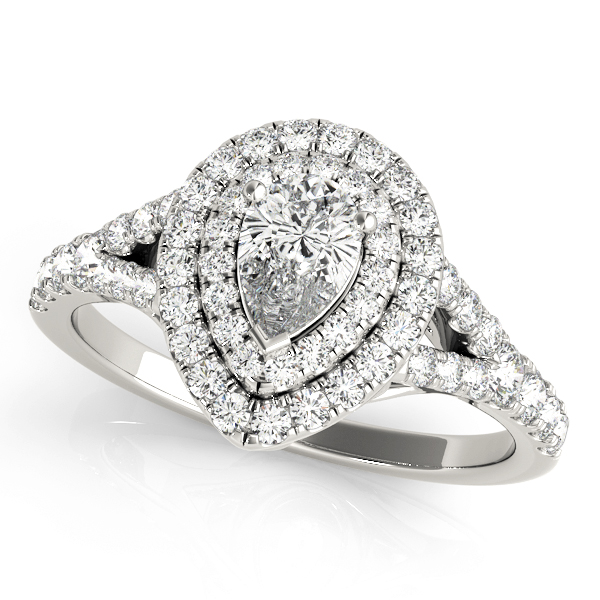 Pear Shaped Double Diamond Halo Engagement Ring