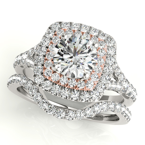 Double Halo Two Tone Diamond Bridal Set with Split Band & Floral Filigree