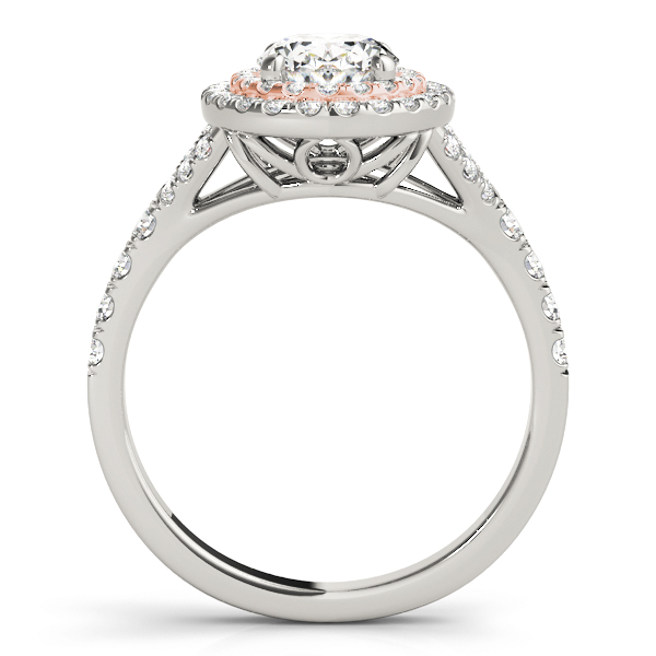 Two Tone Oval Double Diamond Halo Engagement Ring