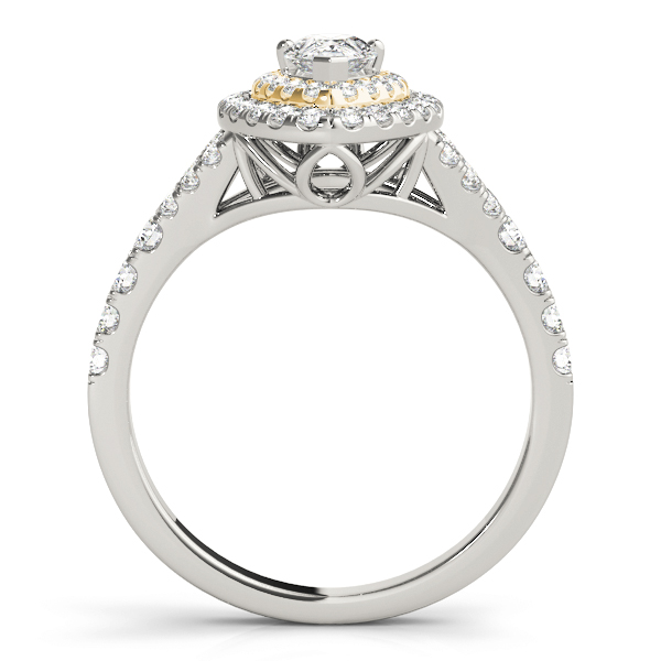 Two Tone Pear Shaped Double Diamond Halo Engagement Ring