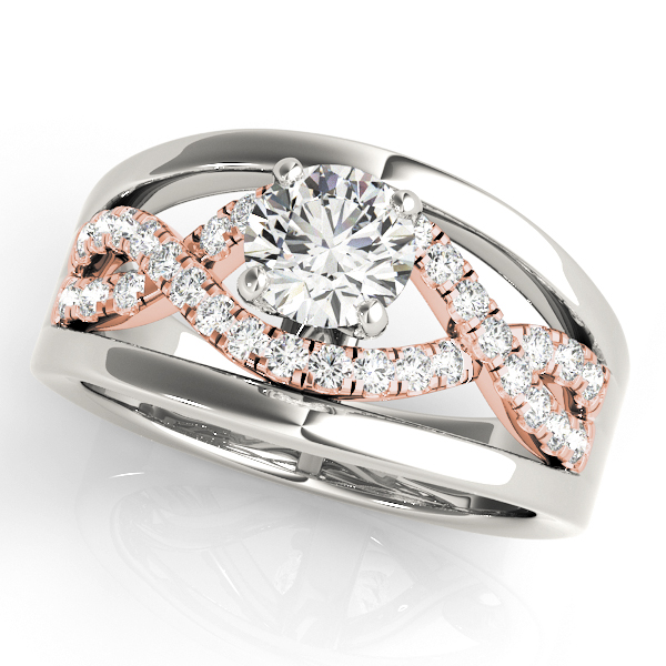 Two-Tone Intertwined Split Band Diamond Engagement Ring with Halo & Solid Outside Band.