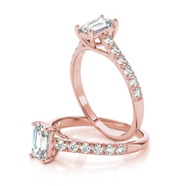 Classic Emerald Cut Diamond Trellis Engagement Ring in Rose Gold