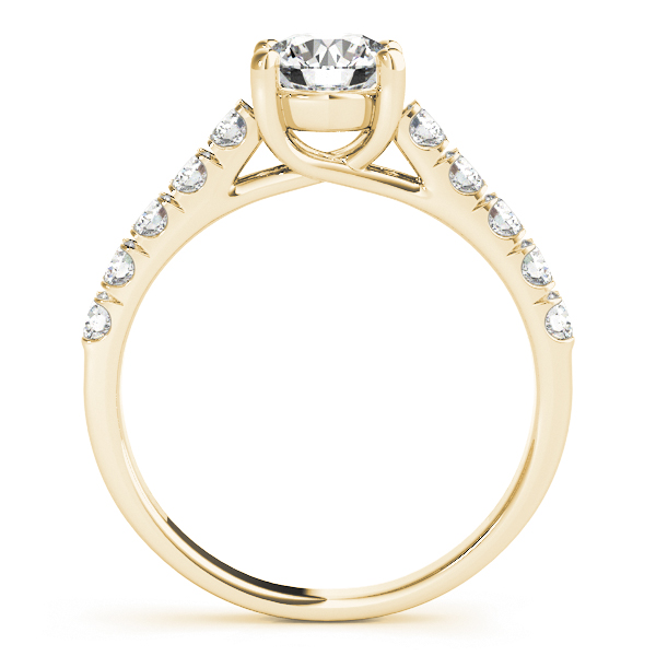 Petite Diamond Cathedral Trellis Engagement Ring in Yellow Gold