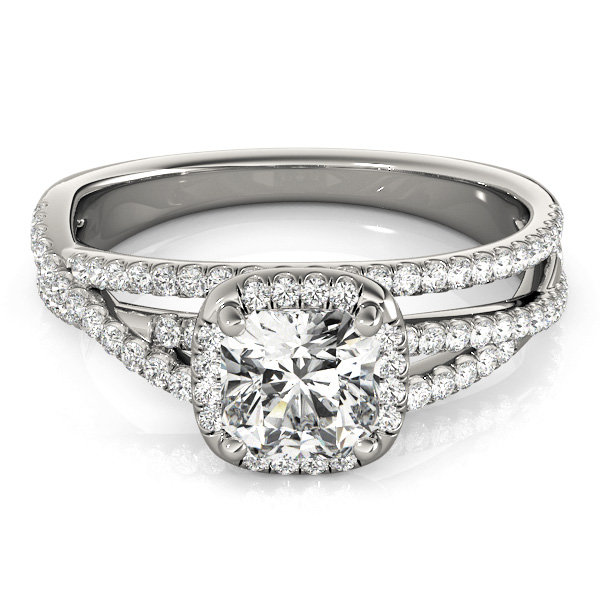 Cushion Cut Up & Over Halo Diamond Engagement Ring