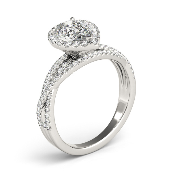 Pear Shaped Up & Over Halo Diamond Engagement Ring