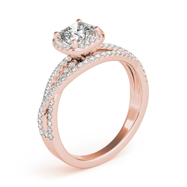 Cushion Cut Up & Over Halo Diamond Engagement Ring in Rose Gold