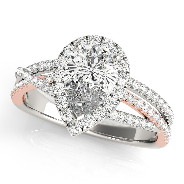 Pear Shaped Up & Over Halo Diamond Engagement Ring in Rose Gold