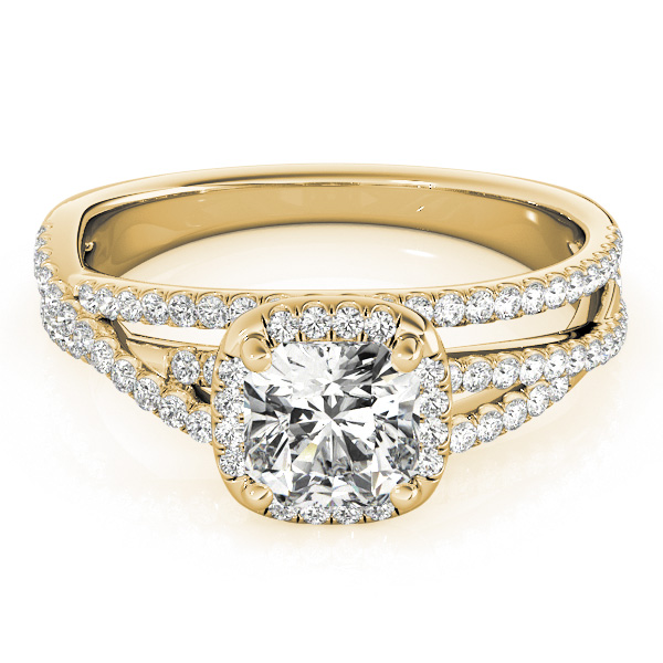 Cushion Cut Up & Over Halo Diamond Engagement Ring in Yellow Gold
